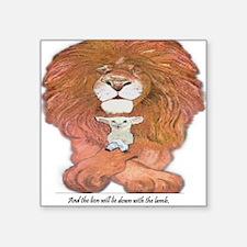 "5-lion and lamb square Square Sticker 3"" x 3"""