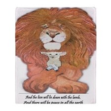 5-lion and lamb square Throw Blanket