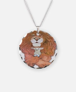 5-lion and lamb square Necklace