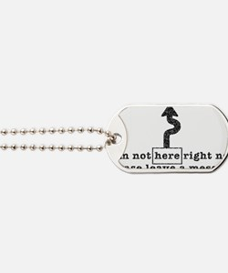 not here-arro-txtr-tr Dog Tags