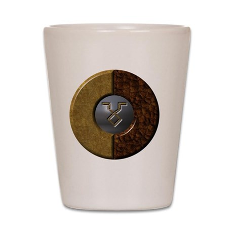 Archaic-Zodiac-Earth-Iron-Taurus-10x10- Shot Glass