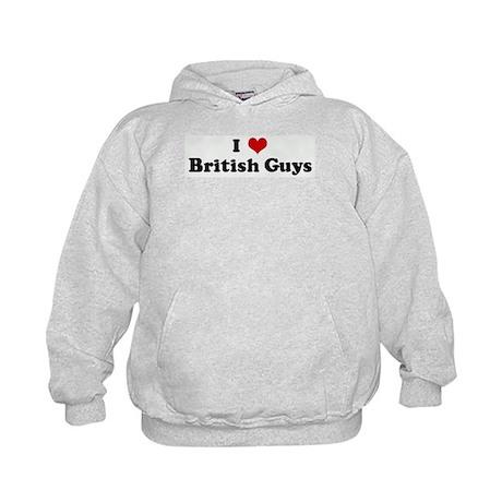 I Love British Guys Kids Hoodie