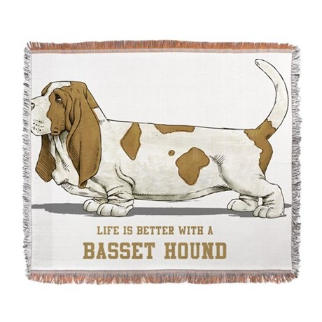 Life-is-better-with-a-Basset-Hound- Woven Blanket