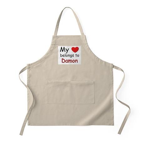 My heart belongs to damon BBQ Apron