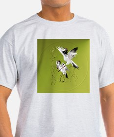 Two Cranes In Bamboo-Circle T-Shirt