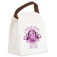 I Wear Pink for my Mom (floral) Canvas Lunch Bag