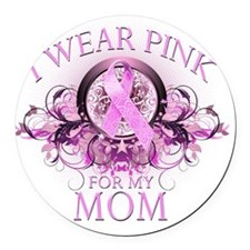 I Wear Pink for my Mom (floral) Round Car Magnet