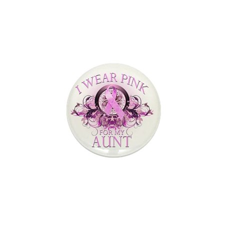 I Wear Pink for my Aunt (floral) Mini Button