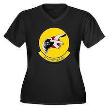 27_fs_Wht Women's Plus Size Dark V-Neck T-Shirt