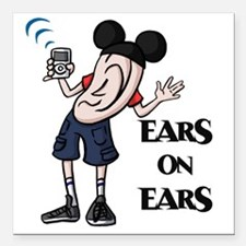 "Ears on Ears Lettered Square Car Magnet 3"" x 3"""