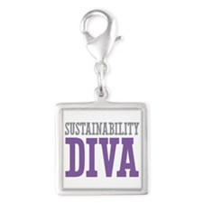 Sustainability DIVA Silver Square Charm