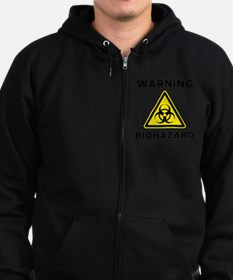 Biohazard Warning Sign Zip Hoodie