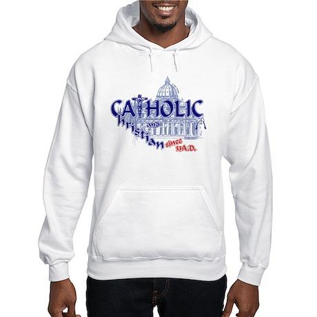 Catholic and Christian (Blue) Hooded Sweatshirt