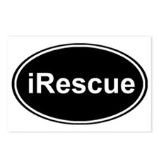 irescue oval black Postcards (Package of 8)