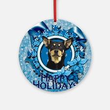 Blue_Snowflake_Australian_Kelpie_Sq Round Ornament