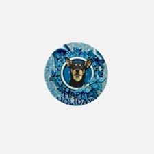 Blue_Snowflake_Australian_Kelpie_Sq Mini Button