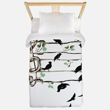 Musical BIrds-black clouds Trans Twin Duvet