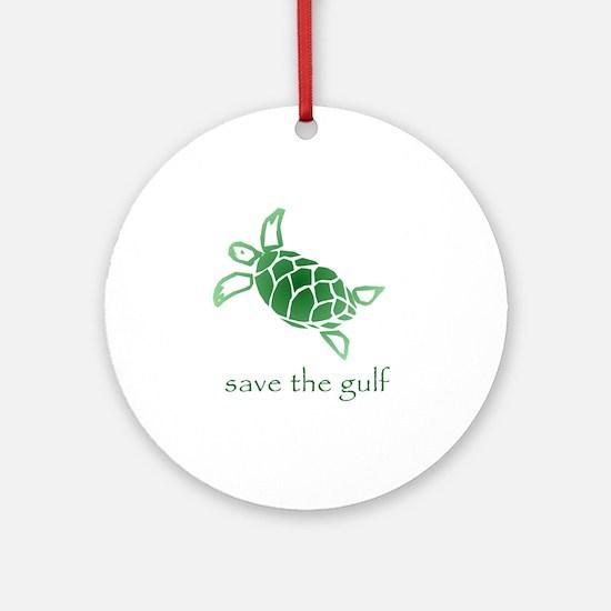 turtle-pap-green-grad Round Ornament