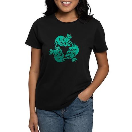 Green Celtic Cats Women's Dark T-Shirt