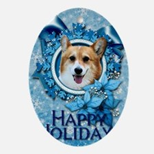 Blue_Snowflake_Corgi_Owen Oval Ornament
