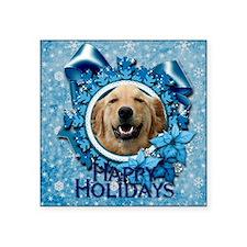 """Blue_Snowflake_Golden_Retri Square Sticker 3"""" x 3"""""""