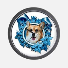 Blue_Snowflake_Corgi_Owen_Sq_Pl Wall Clock