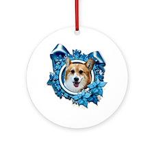 Blue_Snowflake_Corgi_Owen_Sq_Pl Round Ornament