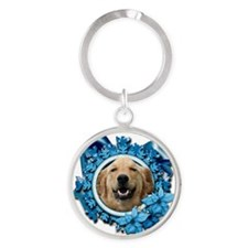 Blue_Snowflake_Golden_Retriever_Mic Round Keychain