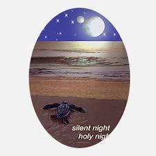 SILENT NIGHT SEA TURTLE CHRISTMAS Oval Ornament