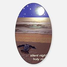 SILENT NIGHT SEA TURTLE CHRISTMAS Sticker (Oval)