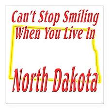 "North Dakota - Smiling Square Car Magnet 3"" x 3"""