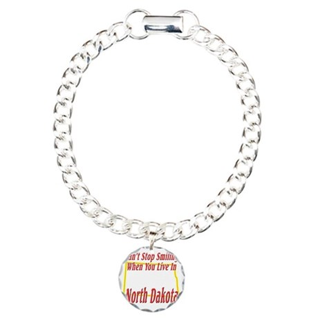 North Dakota - Smiling Charm Bracelet, One Charm