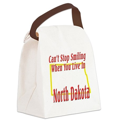 North Dakota - Smiling Canvas Lunch Bag