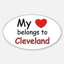 My heart belongs to cleveland Oval Decal