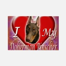 I Love My Doberman Pinscher Rectangle Magnet
