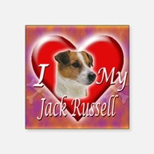"2-I Love My Jack Russell Square Sticker 3"" x 3"""