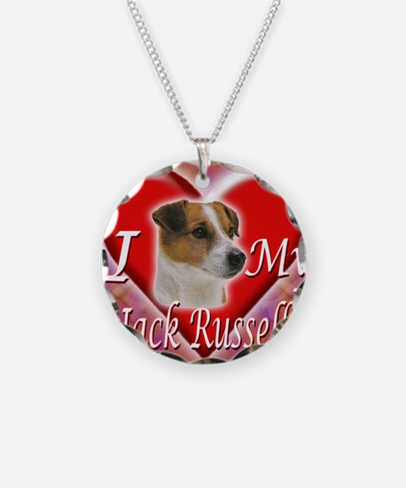 2-I Love My Jack Russell Necklace Circle Charm