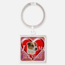 2-I Love My Jack Russell Square Keychain