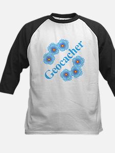 Geocacher Blue Flowers Kids Baseball Jersey