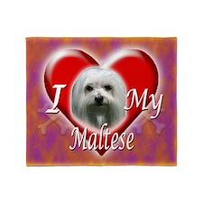 I Love My Maltese Throw Blanket
