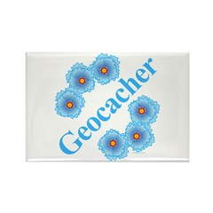 Geocacher Blue Flowers Rectangle Magnet (10 pack)