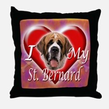 I Love My St Bernard Throw Pillow