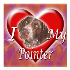"I Love My Pointer Square Car Magnet 3"" x 3"""