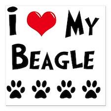 "I-Love-My-Beagle Square Car Magnet 3"" x 3"""