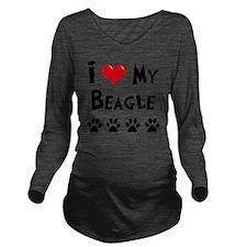 I-Love-My-Beagle Long Sleeve Maternity T-Shirt