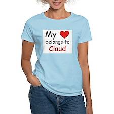 My heart belongs to claud Women's Pink T-Shirt