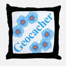 Geocacher Blue Flowers Throw Pillow