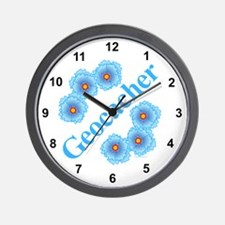 Geocacher Blue Flowers Wall Clock