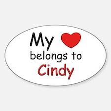 My heart belongs to cindy Oval Decal