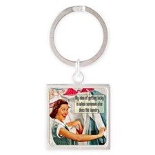 Lucky Laundry Square Keychain